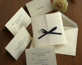 Versailles Blind Embossed Wedding Invitation Set - Thermography Wedding Invite - Custom Wedding Invitation - AV1172
