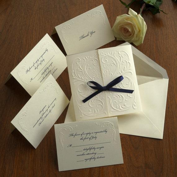 Versailles Blind Embossed Wedding Invitation Set