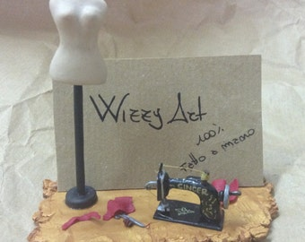 Gift idea: sewing business card holders/Business card holder desk stand miniature sewing