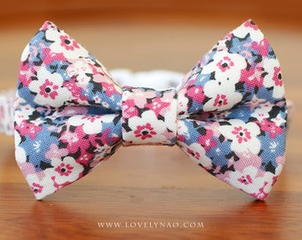 Flower Bed Cat Bow Tie Collar
