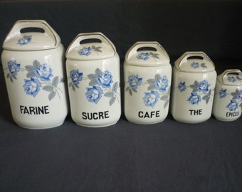 Series of five french 1980s porcelain - Vintage spice jars.