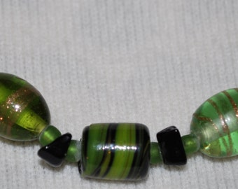Beaded Necklace Green and Onyx Glass Beads