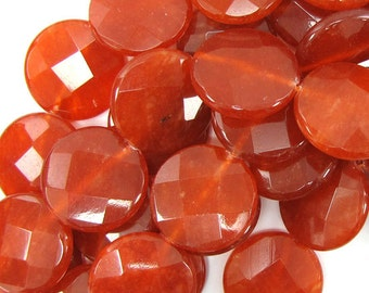 "30mm faceted red jade coin beads 7"" strand 30877"