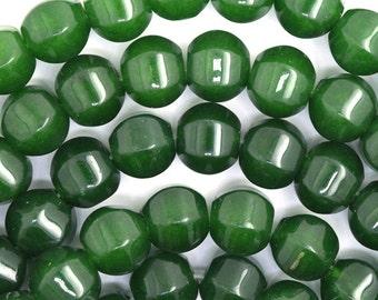 """10mm Canada green jade pumpkin beads 15.5"""" strand 36419"""