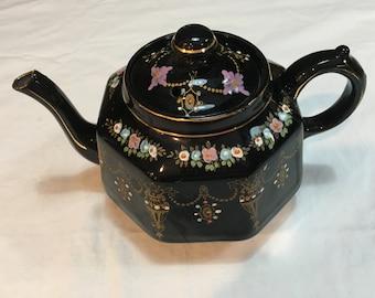 Ornate Black English Teapot