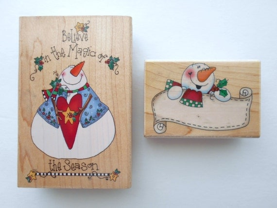Christmas Rubber Stamps Delta Set of Two by Rubber Stampede Holiday Stamps 2004 Tina Ledbetter Rubber Stamps Craft Stamps Card Maker Stamps