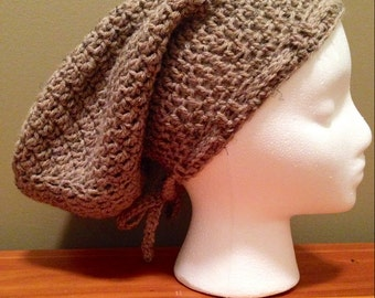Large Crochet Tam, Large Crochet Slouchy Hat in Light Brown/Tan