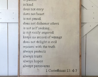 LOVE 1 Corinthians 13: 4-7 wooden sign