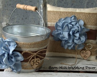 Flower Girl Basket Ring Bearer Pillow Set Blue Brown Lace Fall Autumn Wedding Rustic Burlap Shabby Chic Country