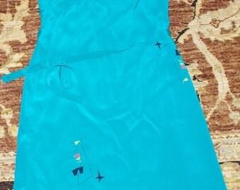 CHARIVARI Blue Teal Print Blue Silk Spaghetti Strap Knee Length Belted Size:6 Dress