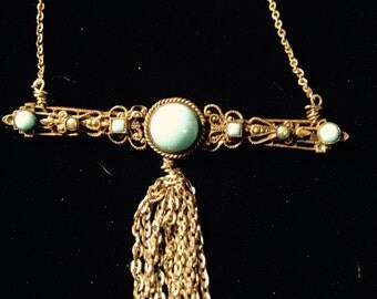 Brass Victorian Turquoise Pendant