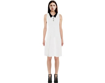 Sleeveless White Dress with Black Collar / Sleeveless Dress / Golf Dress / Tennis Dress / Black Sleeveless Dress / Black Collar Dress