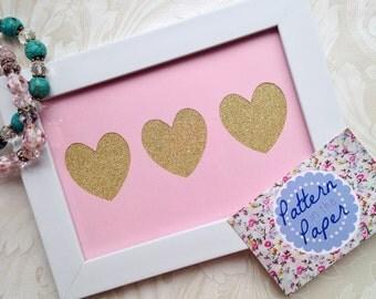 6x4 Three Hearts Handmade Papercut Framed Gift Ideas Home Decor