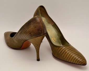 Palizzio Green Lizard High Heel Shoes Vintage 1960s