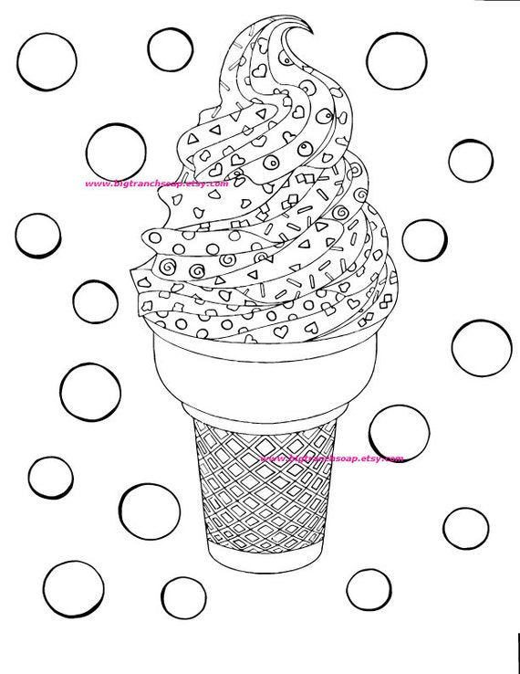 Adult Coloring Page Colouring Ice Cream Cone Hand Drawn