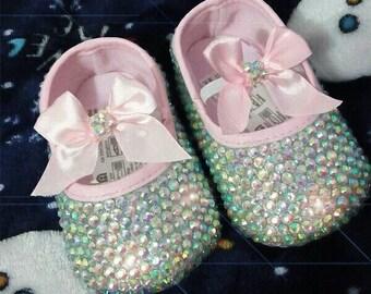 Custom made rhinestone bling baby shoes