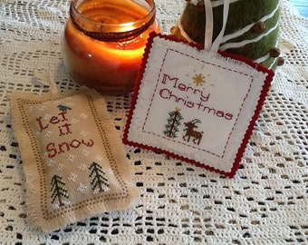 Set Cross Stitch Patterns,  Merry Christmas Rudolph and Let it Snow Patterns