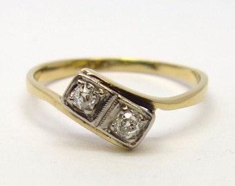 1940s Twisted Twin Diamond Ring   Size O1/2 (UK) 7.5 (US)   Free Sizing / Shipping