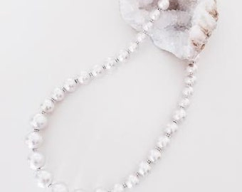 white cotton pearl necklace / silver.  Wedding Jewelry. Bridal. Bridesmaid gift.
