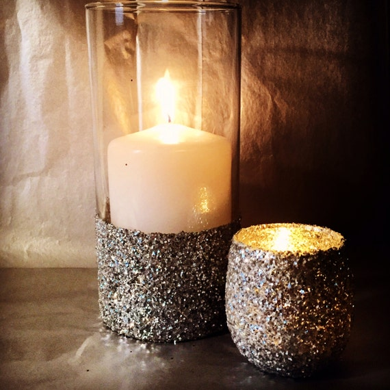 Glass glitter vase with tea light votive candle by
