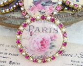 Paris pink roses swarovski fuchsia crystal and pearl porcelain disc cabachon for jewelry and crafts 1 piece 35mm-12