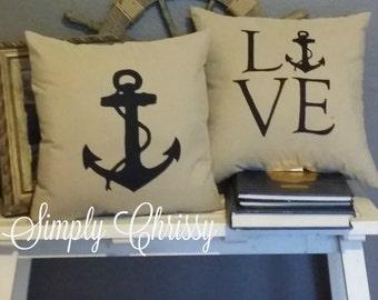 Navy LOVE Pillow Set Limited Quantity