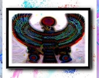 Horus Print, Egyptian Hawk Painting, Egyptian Wall Art, Ancient Egypt Print, Horus Hawk, Animal Print, Animal Art, Bird Art, Ancient Egypt