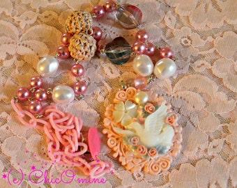 Decorative Dove Pendant Necklace- Fairy Kei, Decora, Sweet Lolita, Magical Girl, Shabby Chic, Kawaii