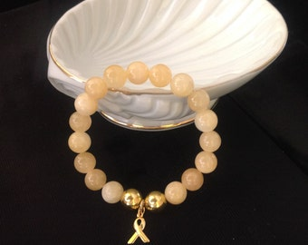 Two Tone Yellow Jade and Gold Plated Bead Childhood Cancer Awareness Bracelet