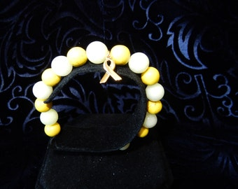 Yellow Quartz  and bright Yellow Magnesite Childhood Cancer Awareness Bracelet