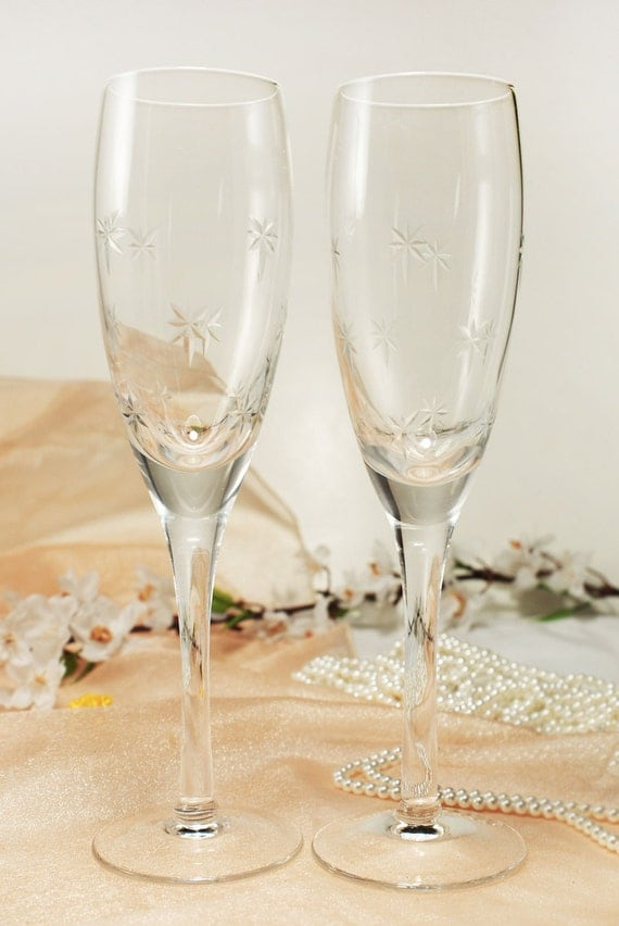 personalized crystal wedding toasting flutes champagne sets