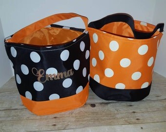 Personalized Halloween Bucket, Personalized Halloween Bag, Trick or Treat bags, Apple Picking Bag
