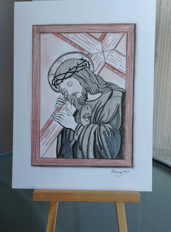 100 hecho a mano dibujo de Jess regalo catlico