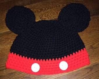 Crochet Mickey Mouse inspired beanie