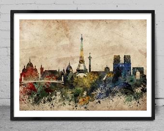 Paris skyline, France Paris print, Paris abstract, Paris Art Poster, Wall Art, Paris Decor, Cityspace Poster Print -x61