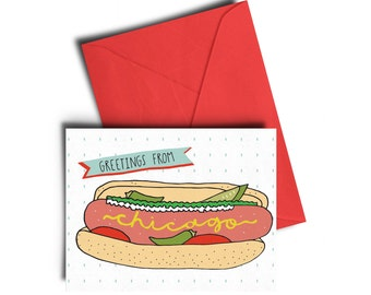 Greetings From Chicago Hot Dog Card