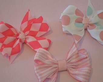 Set of 3 patterned hair bows