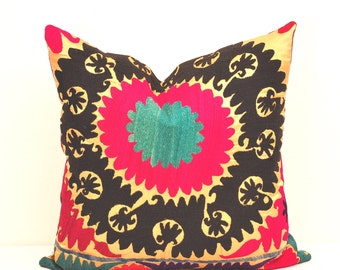PILLOWS 20 x 20 inch THROW PILLOW Cover-Vintage Suzani Pillow-Decorative Suzani Pillow-Suzani Cushion-Pillows Decorative Throw Pillow Covers