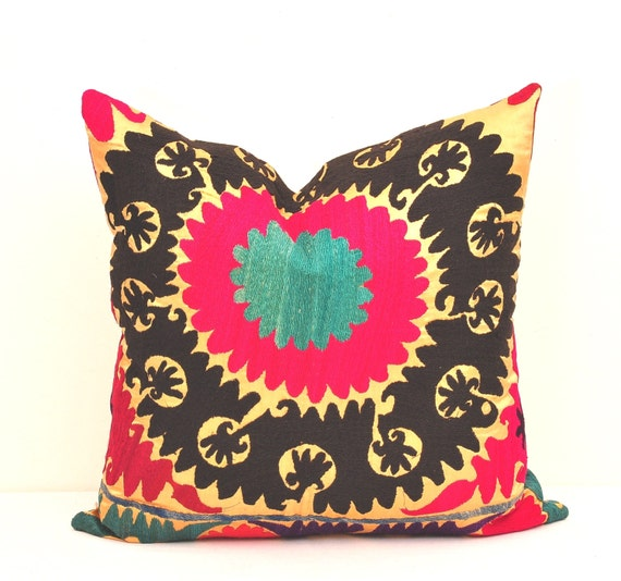 Vintage Throw Pillow Covers : PILLOWS 20 x 20 inch THROW PILLOW Cover-Vintage Suzani