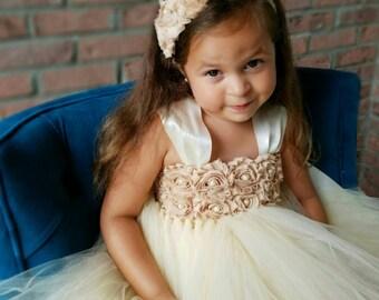 Beige flower girl dress,vintage dress,flower girl tutu dress,tulle flower girl dress,champagne flower girl dress,rustic flower girl dress