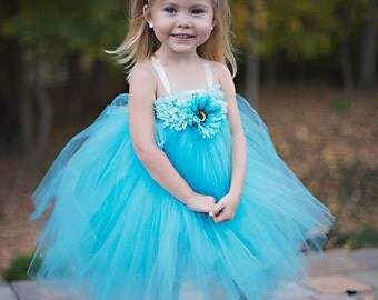 turquoise flower girl dress, tulle dress, flower girl tutu dress, flower girl dress , frozen dress, 1st birthday dress, princess tutu dress
