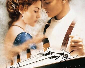 Titanic ( Leonardo DiCaprio, Kate Winslet, James Cameron) x3 signed photo print - 12x8 inch - high quality -