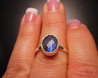 Labradorite ring, sterling silver, ring