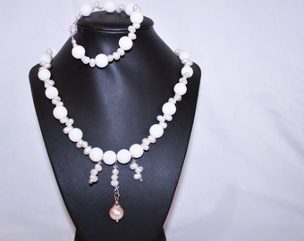 White sea coral and freshwater pearl necklace and bracelet set
