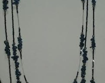 Blue and silver 3 Strand necklace, bracelet and earings jewelry set