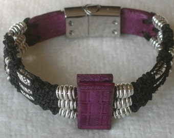"Bracelet, ""Complications"" Micro Macrame Leather and Pewter beads."