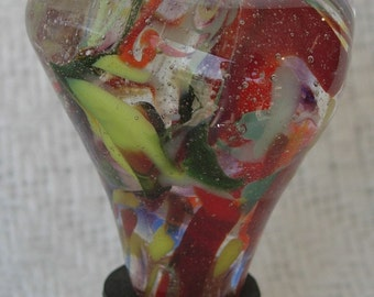 "Blown Glass Wine Bottle Stopper, ""Spring Riot"""