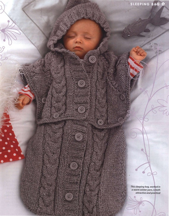 Baby Sleeping Bag Knitting Pattern : PDF Knitting Pattern for a Babys Sleeping Bag/Sack or