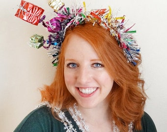 adult christmas headband, ugly sweater party, tacky christmas sweater headband, christmas party ideas, hair tinsel, colorful ugly christmas