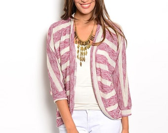 Red Cream Striped Open Front Cardigan